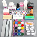 Nail Art Care Kit Acrylic Liquid Powder Glitter UV Primer Tool Brush Tip File US