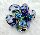 6 Pandora Murano Silver Charm Flower Garden Blue Green White Glass Beads
