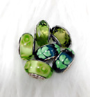 6 Pandora Murano Silver Charm Rainbow  Flower Garden Green Glass Beads