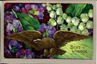 Postcard Best Wishes Golden Eagle American Eagle Patriotic Sweet Peas 1334A