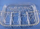 Vintage Indiana Glass 5 Part Clear Mixed Fruit Molded Glass Relish Tray