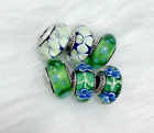 6 Pandora Murano Silver Charm Flower Garden White Green Blue Glass Beads