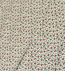 Vintage FABRIC Holly Berries Holiday Christmas BTY Holly Berry on White Fabric