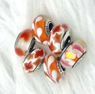 6 Pandora Murano Silver Charm Red Leaf Bead  White Orange Flower Glass Beads