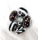 6 Pandora Murano Silver Charm White  Black Flower Glass Beads