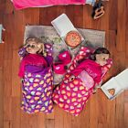 18 Inch Doll Accessories TWO SLEEPING BAGS Pink  Purple Fits American Girl