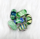 6 Pandora Murano Silver Charm Flower Garden Green Blue Gray Glass Beads