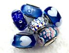 6 Pandora Murano Silver Charm Ocean Blue Heart  Bubble Glass Beads