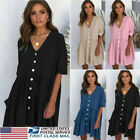 Ladies Dress Loose Button Pocket Dresses Casual T-Shirt Tops Sundress Boho Style