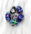 6 Pandora Murano Silver Charm White  Pink Flower Blue Glass Beads