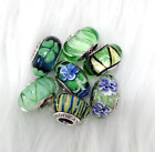 6 Pandora Murano Silver Charm White Heart Flower Garden Green Glass Beads