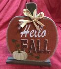 Hello Fall Pumpkin Harvest Sign Thanksgiving Holiday Seasonal Home Decor 65x8