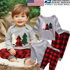 US 2PCS Cute Newborn Baby Boys Casual Christmas Clothes Tops + Pants Outfits Set