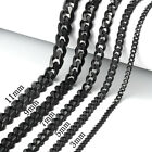 18 30 Stainless Steel Black Tone Chain Cuban Curb Mens Necklace 3 5 7 9 11mm