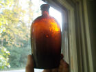 PRETTY RED AMBER CRUDE WHITTLED STODDARD DOT PINT WHISKEY FLASK 1860s REAL NICE