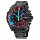 ✅ DIESEL DZ4318 NEW Mega Chief Black Ion plated Stainless Steel Men's Watch NEW