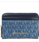 NWT Michael Kors Blue Zip Around Signature Coin Cardholder Case Wallet 58