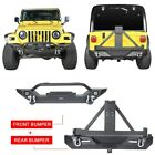 Textured Black Front Rear Bumper w Tire Carrier for Jeep Wrangler TJ 1997 2006