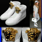 VERSACE Gold Medusa LEATHER SNEAKERS w Dust Bag 385 85