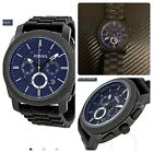 Fossil Chronograph Black Ion-plated Blue Dial Men's Watch FS4605