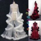 Vintage Bridal Gowns Sexy Feather Robe Tulle Illusion Wedding Scarf Fairy Dress