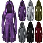 Women Costumes Lace Up Hooded Vintage Pullover High Low Bandage Long Dress Cloak