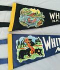 Set of 2 Vintage WHITE MTS Mountains NH Felt Pennants Bear  Cubs Indian Native