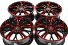 4 New DDR R25 17x7 5x100 1143 40mm Black Polished Red 17 Wheels Rims