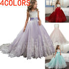 Kid Girl Lace Bridesmaid Maxi Full Dress Party Princess Lace Embroidery Dresses