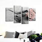 4Pcs White Pink Grey Love Rose Floral Canvas Wall Art Picture Print Home Xmas