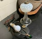 c1890 Hobbs White Opalescent Coin Dot Oil Lamp w Electric Conversion Kit