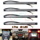 4 Flexible Motorcycle Strip 48LED Tail Brake Stop Turn Signal Running Lights 12V