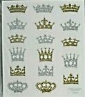 Crowns Gold  Silver Tiara Glitter PS Stickers