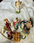 VINTAGE MADE IN ITALY 11 PIECE HEAVY COMPOSITION NATIVITY SET FOR CRECHE
