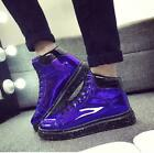 Bty15 Men Patent Leather Sneakers Lace Up High Top Shiny Shoes Casual Creeper