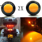 Motorcycle Chopper Bobber Turn Signal Lights Small Amber LED Black DOME 2XYellow
