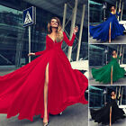 Women V Neck Long Sleeve Cocktail Formal Ball Prom Gown Party Evening Long Dress