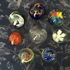 LOT of 8 HAND BLOWN ART GLASS PAPERWEIGHTS COLLECTION UNMARKED FLORAL