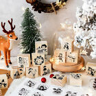 painting Wooden Seal Rubber Stamp Cards Decor Colorful Christmas Night Series