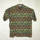 Vintage Genelli Linen Shirt Short Sleeve Button Up Multi Color Abstract Mens XL