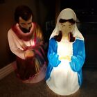 Giant Life Size Nativity Scene Mary Joseph 27 Blown Mold Empire Vintage Big