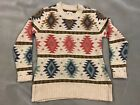LL Bean Knit SWEATER Signature Collection Cotton Large Native Aztec Pattern