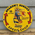 VINTAGE SUNOCO GASOLINE PORCELAIN RACING PINUP GAS SERVICE STATION PUMP SIGN