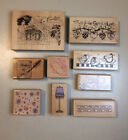 Lot of 9 Assorted Wood Mounted Rubber Stamps for Scrapbooking Art A017