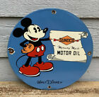 VINTAGE 1933 SUNOCO MOTOR OIL PORCELAIN SIGN, MICKEY MOUSE, GAS, PUMP PLATE