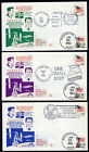 Kennedy Man on Moon & Reagan Space Station Charges- 3 Space Voyage Covers PD871E