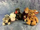 Lot of 5 Beanie Babies  Curly Cheeks Swirly Schweetheart and Prance