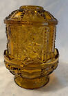 Vintage Indiana Glass Fairy Lamp, Amber Stars and Bars Candle Holder W/ Cover