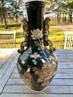 VINTAGE SATSUMA VASE WITH FOO DOG HANDLES HAND PAINTED GILDING