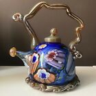 Paul Counts Hand Blown Millefiori Art Glass Contemporary Teapot 9 Tall Signed